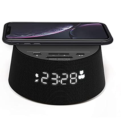 Philips Reloj Despertador Digital PR702/12 con Cargador inalámbrico (Cargador inalámbrico, Temporizador de Reposo, Alarma) Negro