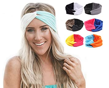 Amazon.com   Ewandastore Contrast Color Women 80s Elastic Turban Twist  Headband Head Wrap Twisted Knotted Soft Cross Knot Headbands Hair  Bands(Black+Grey)   ... fef6c61a656