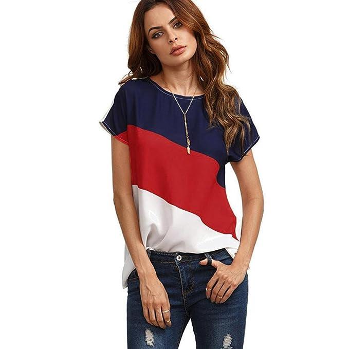 6eb35089a2d9b Landfox Blusa Casual de Manga Corta de Gasa de Color Block Para Mujer  Blusas de Túnica