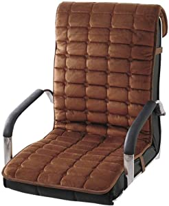 WJX&Likerr Crystal Velvet One-Piece Seat Cushion, Thick Office Chair Cushion with Straps Lounge Chair Cushion Winter Plush Dining Chair Cushion-Brown 50x130cm(20x51inch)
