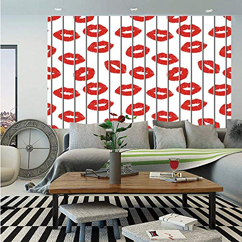 SoSung Glamour Huge Photo Wall Mural,Sexy Woman Lips Behind The Bars Female Love Romance Valentines Day Print Decorative,Self-Adhesive Large Wallpaper for Home Decor 100x144 inches,Scarlet Grey White