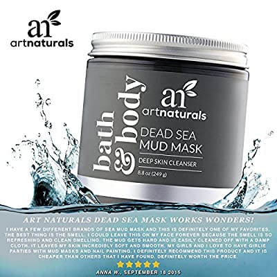 ArtNaturals Dead Sea Mud Mask - for Face, Body & Hair 8.8 oz, 100% Natural and Organic Deep Skin Cleanser - Clears Acne, Reduces Pores & Wrinkles - Ultimate Spa Quality - Mineral Infused Additive Free from Hollywoods Best Llc