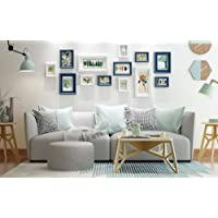 Qi Solid Wood Photo Wall Creative Combination Living Room Staircase Photobackground Wall 13 Piece(Size:142*61Cm),Blue