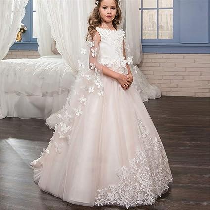Vestidos formales de fiesta Vestido de boda para niños de encaje hecho a mano Flor Desmontable