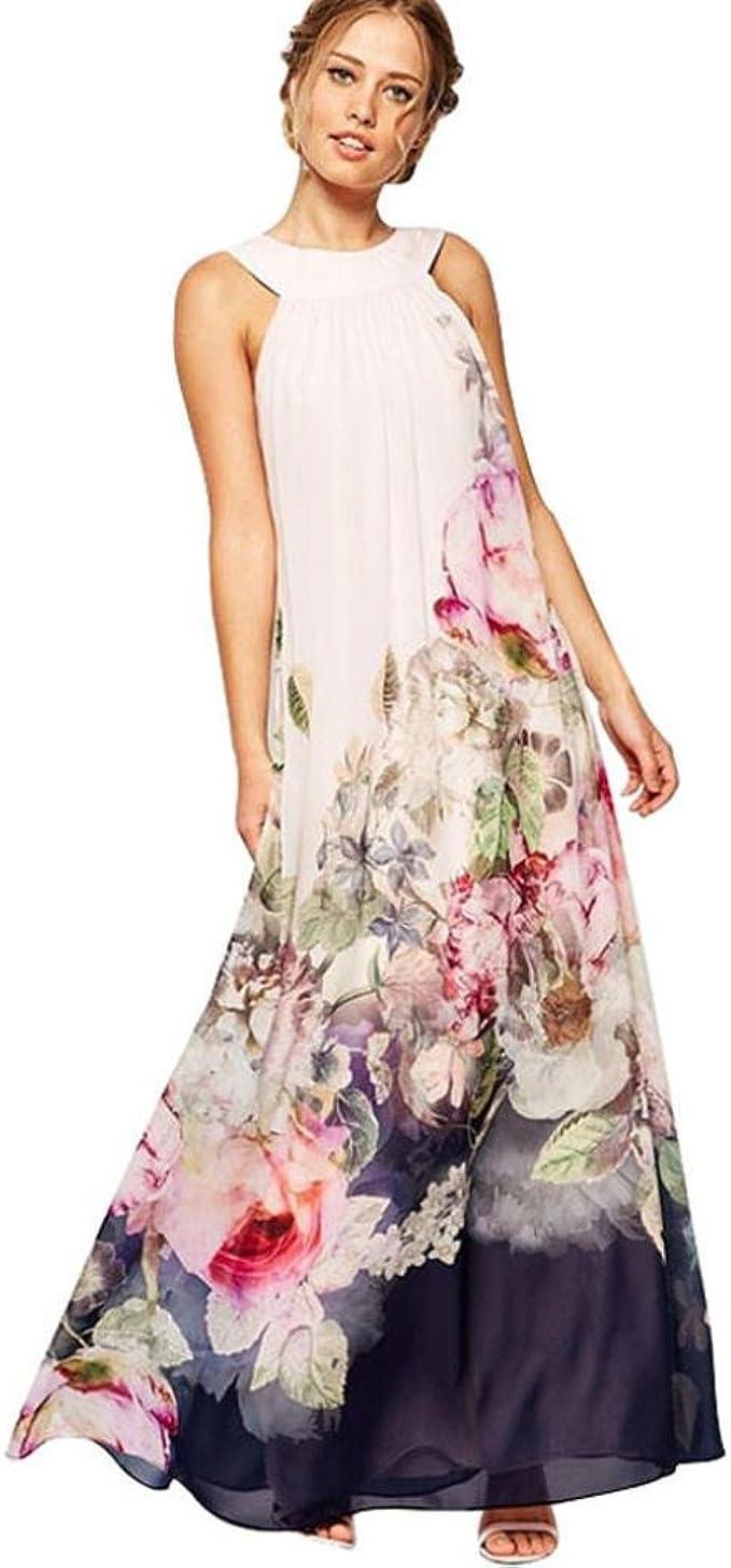 feiXIANG Sommer Kleid Basic Floral Wickelkleider Strandkleider Lange  Druckkleider für Damen