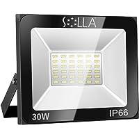Foco LED 30W IP66 Luz de Seguridad Exterior Impermeable, 2400LM, Blanco Cálido 3000K, Foco Exterior de Pared para Patio, Garaje, Almacén, Parking, Jardín, Carreteras, Calles, Plazas, etc.