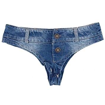 ZHER-LU - Tanga de Jean Sexy para Mujer con triángulo y ...