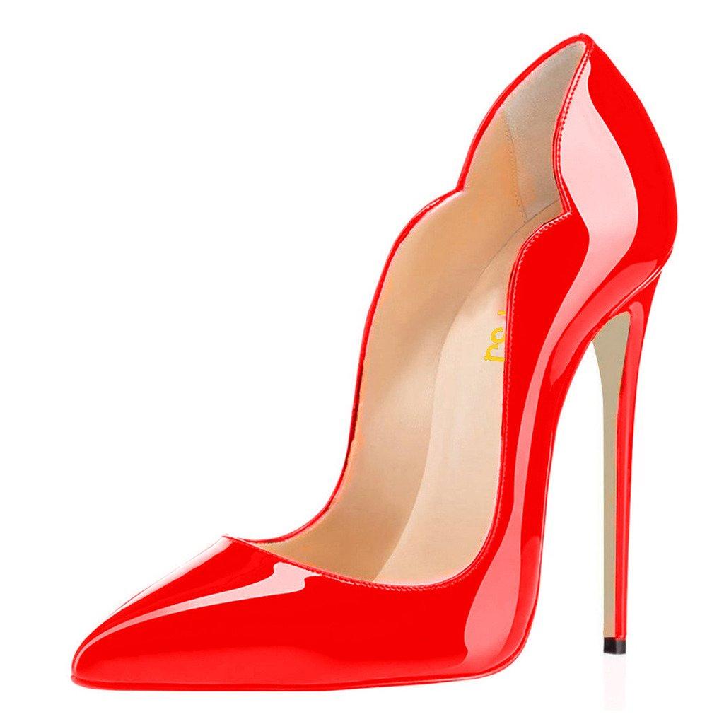 FSJ Women Classic Pointed Toe High Heels Sexy Stiletto Pumps Office Lady Dress Shoes Size 4-15 US B071P2N39X 5 B(M) US|Red