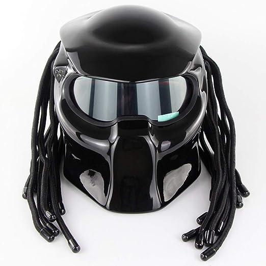 WWtoukui Casco de Motocicleta Negro Depredador Brillante, Máscara ...