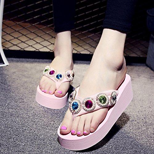 with Rhinestone Pink Thongs Beach Platform Flip Wedges Slide Flops Sandals Women's ASHzOv
