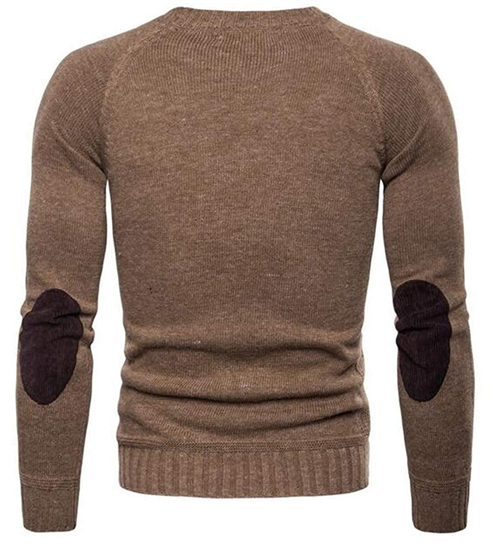 YUELANDE Men Slim Long Sleeve Solid Ribbed Kintted Crew Neck Pullover Sweater