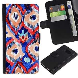 WINCASE ( No Para S6 EDGE ) Cuadro Funda Voltear Cuero Ranura Tarjetas TPU Carcasas Protectora Cover Case Para Samsung Galaxy S6 SM-G920 - líneas azules rojos arte de la acuarela