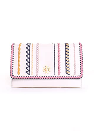 8eda52cd6d76 Amazon.com  Tory Burch Kira Leather Whipstitch Clutch Handbag in Birch  Multi  Clothing