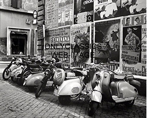 OnlyClassics 1955 Vespa Motor Scooter Motorcycle 8X10 Photo Rome Italy Old Posters Background