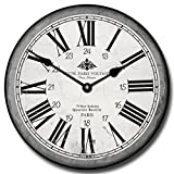 Hotel Paris Voltaire Wall Clock, Available in 8 sizes, Most Sizes Ship 2 - 3 days, Whisper Quiet.