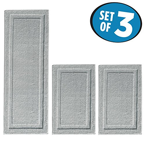 mDesign Long and Standard Microfiber Accent Shower Rug Combo for Bathroom - Set of 3, (Complements Bamboo Rug)