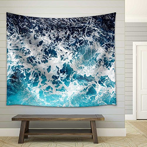 Areal Shot of Deep Blue and Rough Sea with Lot of Sea Spray Fabric Wall