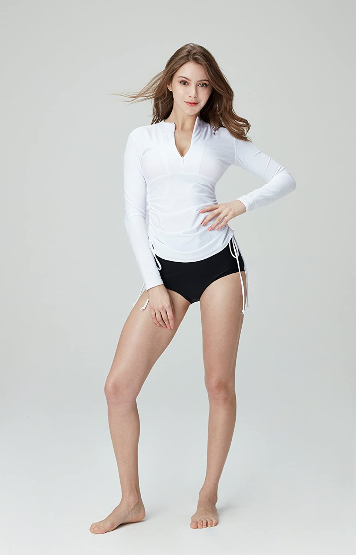 UPF 50 UV//Sun Protection Wetsuit Swimsuit Top TSLA Womens Half-Zip Front Rash Guard Side Adjustable Long Sleeve Swim Shirts