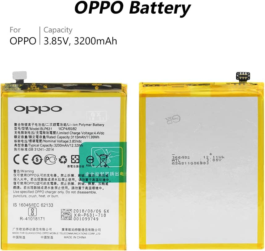 YCDC Original BLP631 Battery for Oppo A73 A73S A73M A73T A77 A77M A77T Smart Phone,3.85V 3200mAh Phone Battery BLP631 BLP 631 for Oppo A73 A77 High Performance