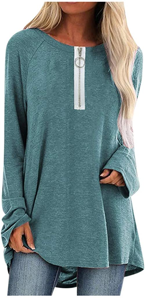 Aotifu Womens Tunic Tops Casual V Neck Oversized Loose Long Sleeved Pullover Henley Shirts Sweatshirt Blouses