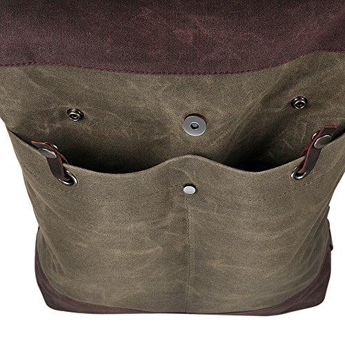 Herren rucksack H-andybag Waxed Canvas Roll Top Rucksack passt 15 Zoll Laptop und Notebook