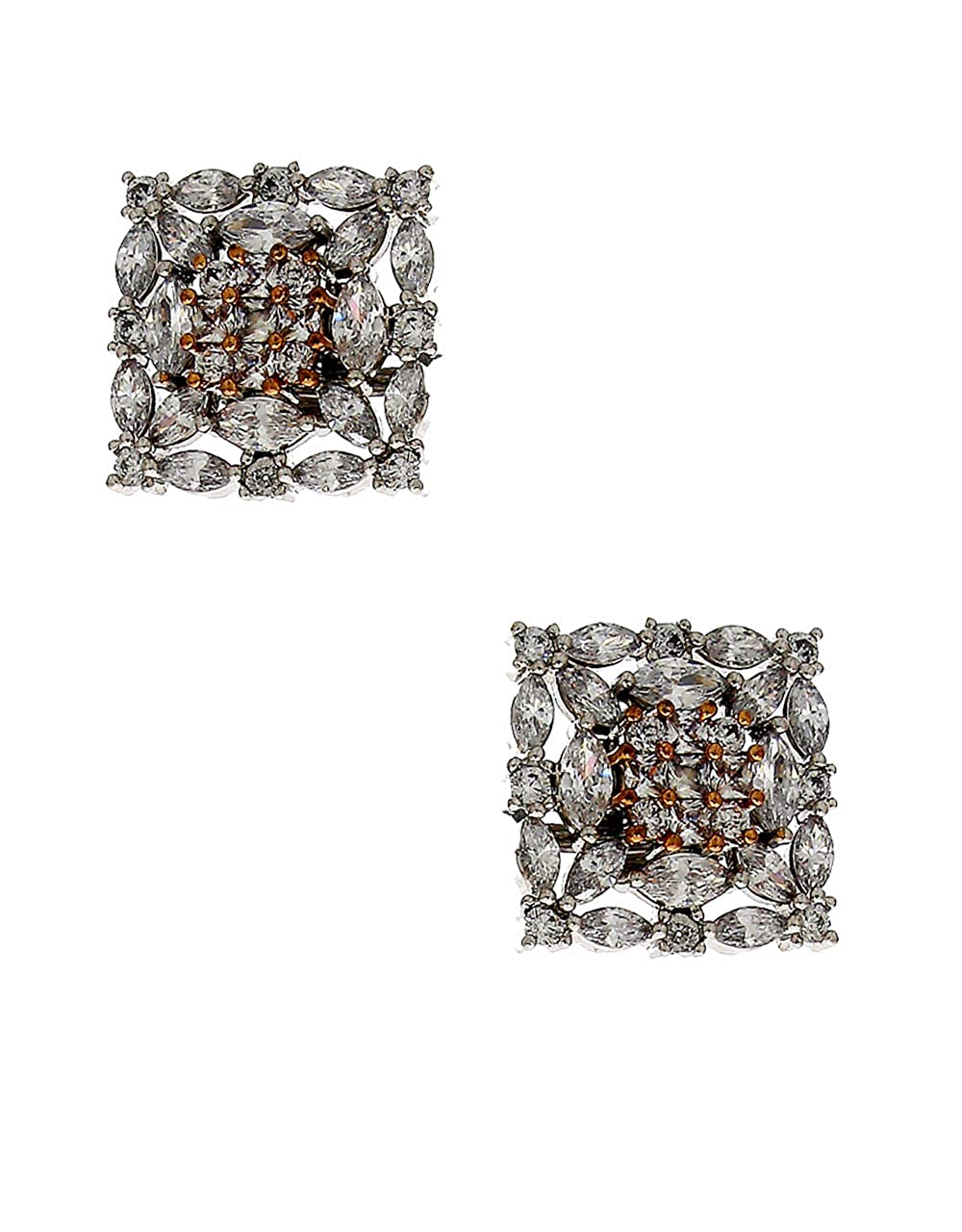 Anuradha Art Silver Colour Styled With Studded Stoen Fancy Studs Earrings For Women//Girls