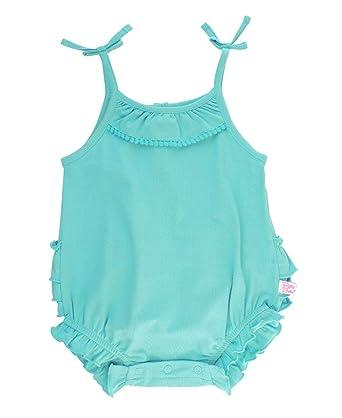 03830d7345f6 RuffleButts Baby Toddler Girls Blue Lagoon Pom Pom Bubble Romper - 0-3m