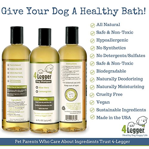 4-Legger Certified Organic Dog Shampoo - All Natural and Hypoallergenic with Aloe and Lemongrass, Soothing for Normal, Dry, Itchy or Allergy Sensitive Skin - Biodegradable - Made in USA - 16 oz