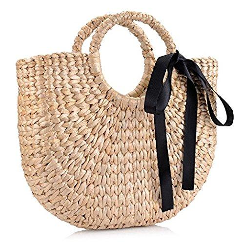 Natural Yellow Beach Grass Chic woven Large Handle Tote Retro Summer Casual Round Women Straw Hand Straw Ring Handbags rHraqZnp