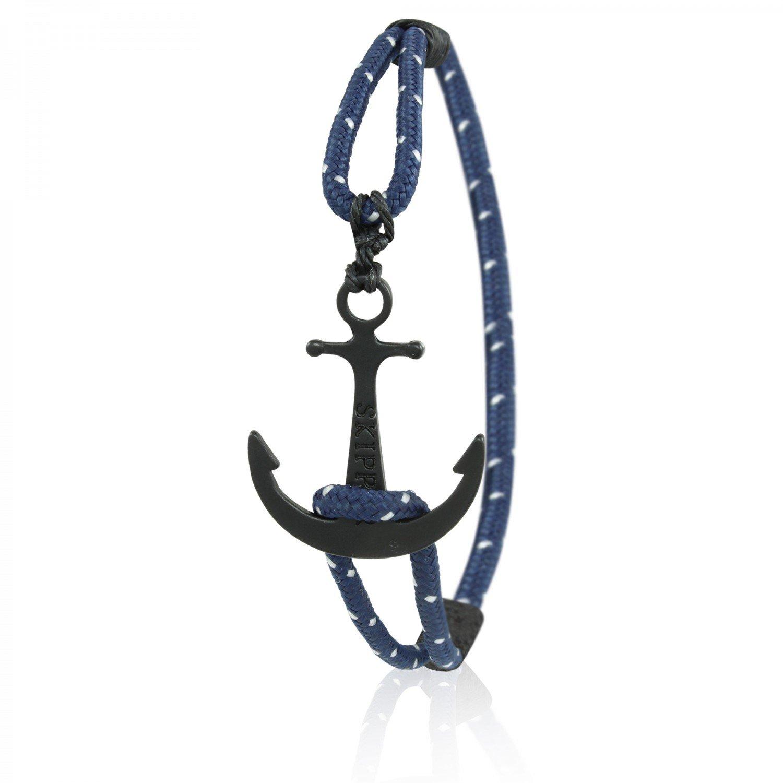 Skipper Bracelet maritime avec ancre noir pour homme et femme