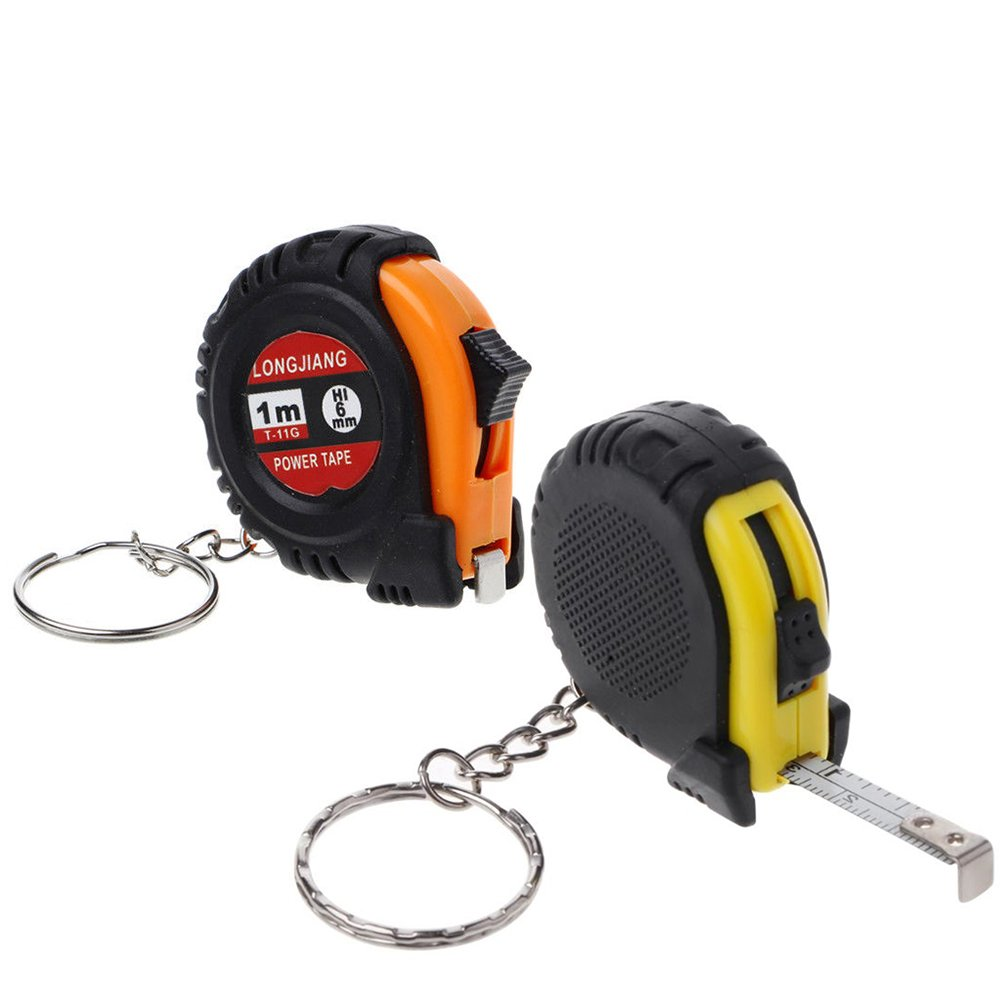 Teydhao 1m Mini Ruler Tapeline Retractable Ruler Steel Tape Measure Key Chain Mini Pocket Measuring Tool Inches and Metric Measuring Tape for Home Use and DIY Sliding Nylon Coated Ruler Strong Belt Clip Random Color