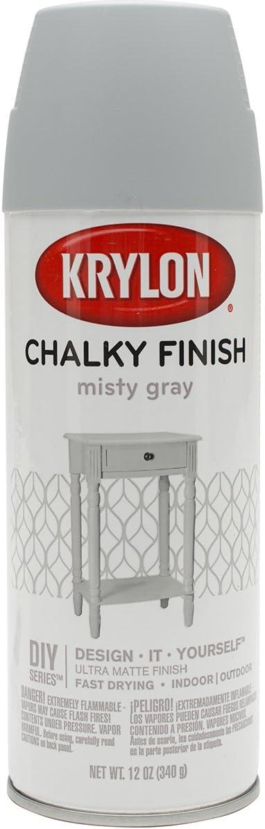 Krylon K04102007 Chalky Finish Spray Paint, Misty Gray, 12 Ounce