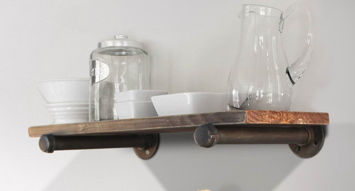 Industrial Pipe Shelf Wall Mount Iron DIY Storage Shelving Bookshelf a Layer wood shelf
