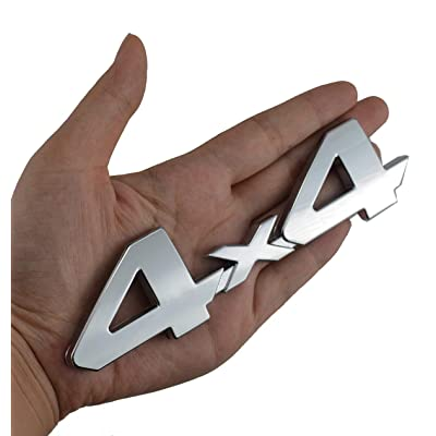 4x4 Chrome Fender Side Rear Emblem Badge With Adhesive For Truck/Suv/Pickup Rear Tailgate Tail Gate Door 4Wd (Chrome): Automotive