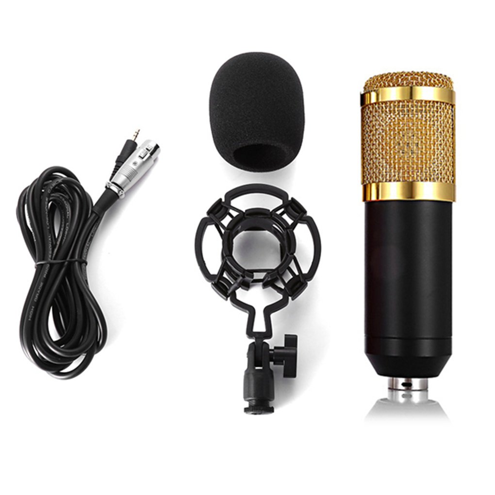 Omkuwl BM 800 Computer Microphone 3.5mm Wired Condenser Sound Microphone with Shock Mount for Recording Braodcasting