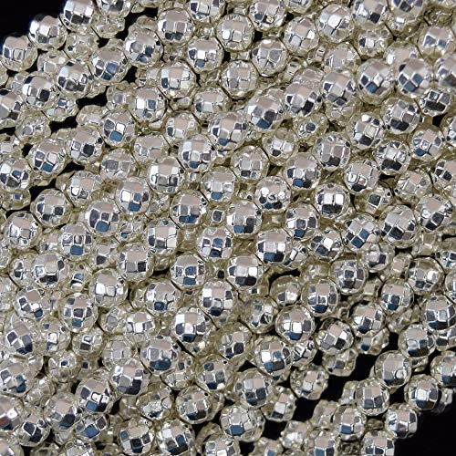 ShopForAllYou Design Beads Faceted Bright Silver Hematite Round Beads 15.5