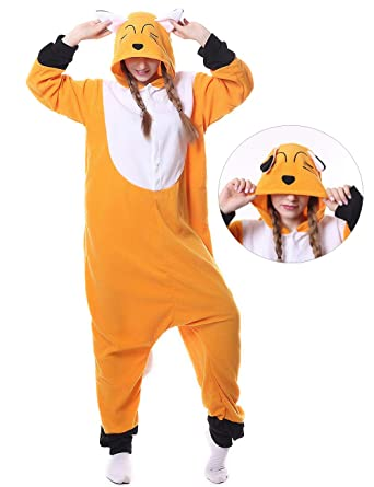 61158d44a8 Image Unavailable. Image not available for. Color  Fox Onesies Adult Pajamas  Plus One Piece Cosplay Animal Halloween Costume for Women Men