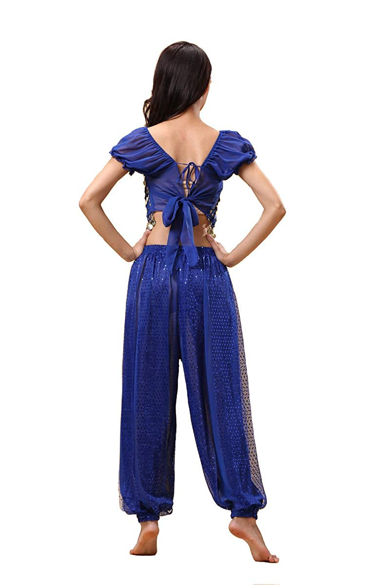 Bollywood Indian Princess Theme Belly Dance 2-Piece Costume Set Outfit for Women Girls with top and Pants