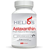 Helios Astaxanthin (12 mg) | Cold Pressed Extra Virgin Olive Oil | All Natural | 60 SoftGels
