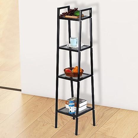 35*35*145cm Ladder Shape 4 Tier Design Shelf Unit Bookshelf Bookcase Book Storage Display Rack Stand Home