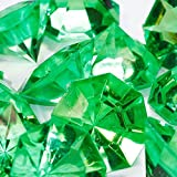 "Custom & Fancy {1'' x 1.25"" Inch} Approx 60 Pieces/16 oz of Large ""Table"" Party Confetti Made of Acrylic w/ Pretty Emerald Color Diamond Cut Shape Jewel Tone Clear Scatter Filler Design [Green]"