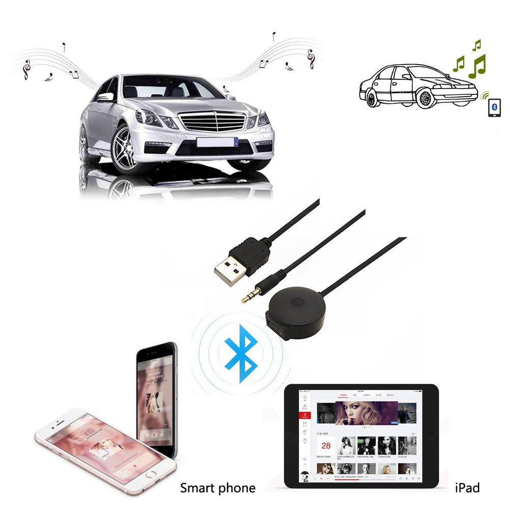 CHELINK in-Car USB Bluetooth 4.0 Wireless Music Receiver Adapter to Aux /& USB Cable for BMW /& Mini Cooper