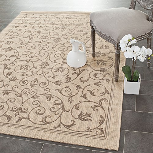 Safavieh Courtyard Collection CY2098-3001 Natural and Brown Indoor/ Outdoor Area Rug (4' x 5'7