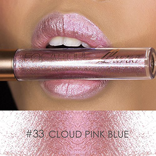 Sky Lipsticks MEIQING Women Glitter Waterproof Long Lasting Lip Gloss Bold Vivid Colorful Lipgloss Nude Glitter Shimmer Lipstick Lip Kit (#33)