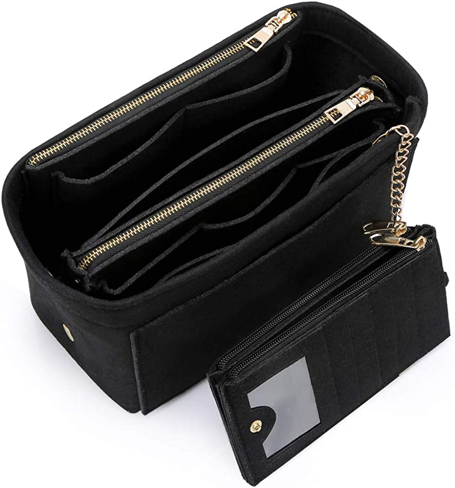 VANCORE Purse Organizer Insert with Card Case Wallet, Felt Handbag and Tote Bag Shaper with Zipper Pockets