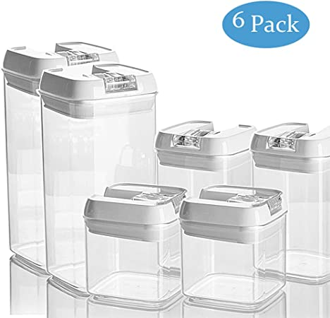 Stackable Food Storage Container Sets With Lids Kitchen Plastic Cereal Storage Organizer Bpa Free 6 Pack