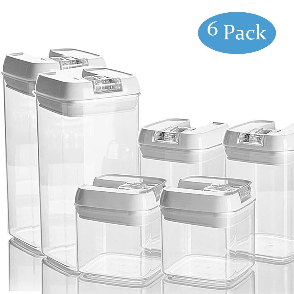 recipiente herm/ético de pl/ástico para cocina 6 unidades Juego de recipientes apilables para almacenamiento de alimentos con tapas