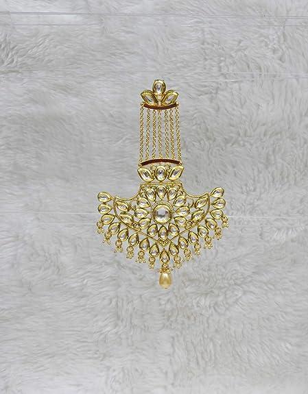 Indian Bollywood Kundan Pearl Forehead Passa Earring Set Maang tikka Jewelry