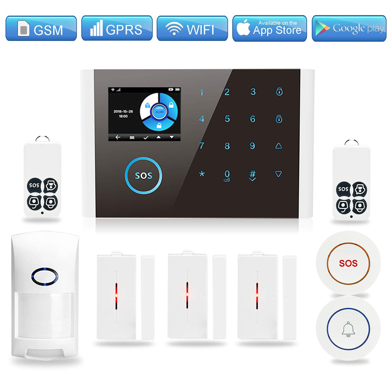 GSM WiFi Home Security Alarm System, TINGPO GPRS Wireless Burglar Alert Wi-Fi SMS Calling Alarms with 6 Door Sensors, 2 Motion Detectors, 1 SOS Call Button, 1 Doorbell Button and 2 Remote Fobs by TINGPO