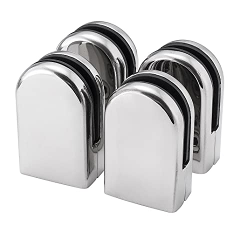 DRAWING 4Pcs High Quality Stainless Steel Glass Clamp Solid Glass Shelf Clamp Holder Bracket Clip Support Fits for 6-8mm thick Glass Wall Mount Home Bathroom